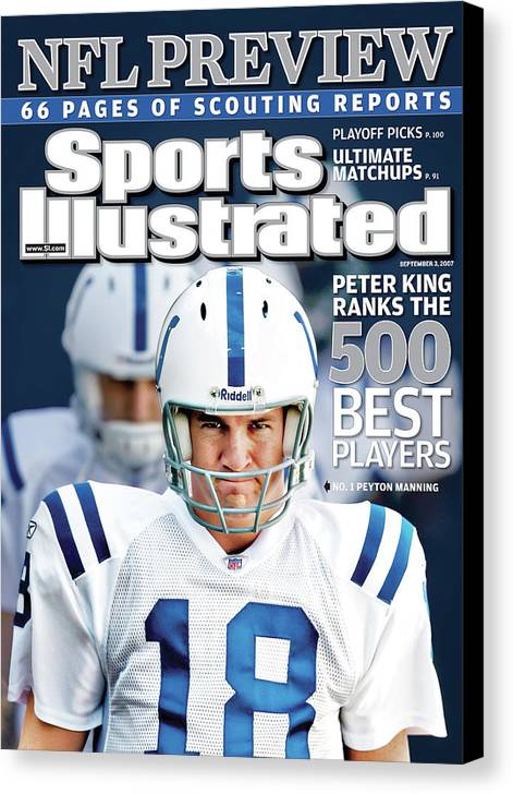 Magazine Cover Canvas Print featuring the photograph Indianapolis Colts Quarterback Peyton Manning, 2013 Nfl Sports Illustrated Cover by Sports Illustrated