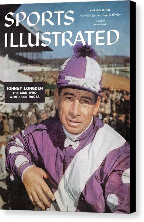 Horse Canvas Print featuring the photograph Johnny Longden, 1955 Laurel International Race Sports Illustrated Cover by Sports Illustrated
