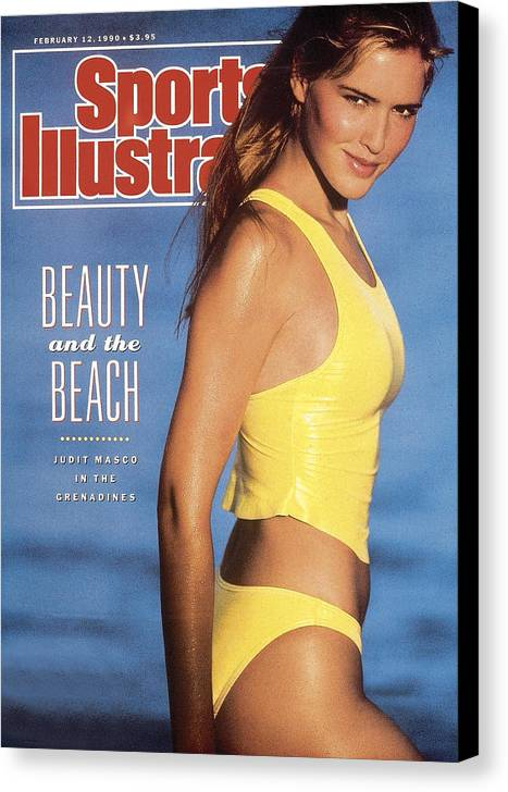Social Issues Canvas Print featuring the photograph Judit Masco Swimsuit 1990 Sports Illustrated Cover by Sports Illustrated