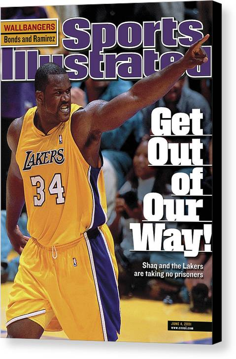 Magazine Cover Canvas Print featuring the photograph Los Angeles Lakers Shaquille Oneal, 2001 Nba Western Sports Illustrated Cover by Sports Illustrated