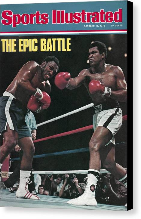 Joe Frazier Canvas Print featuring the photograph Muhammad Ali, 1975 Wbcwba Heavyweight Title Sports Illustrated Cover by Sports Illustrated