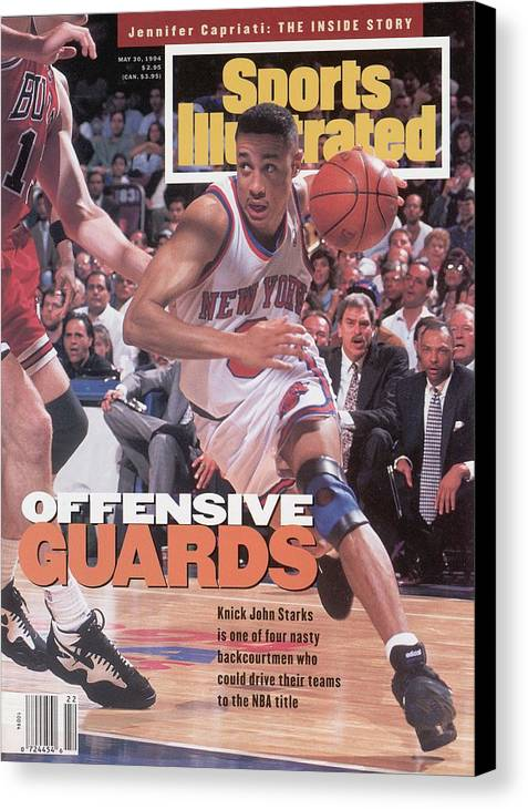 Chicago Bulls Canvas Print featuring the photograph New York Knicks John Starks, 1994 Nba Eastern Conference Sports Illustrated Cover by Sports Illustrated