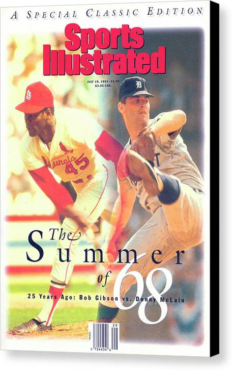 St. Louis Cardinals Canvas Print featuring the photograph St. Louis Cardinals Bob Gibson And Detroit Tigers Denny Sports Illustrated Cover by Sports Illustrated