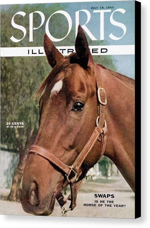 Magazine Cover Canvas Print featuring the photograph Swaps Is He The Horse Of The Year Sports Illustrated Cover by Sports Illustrated