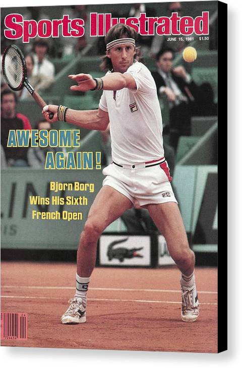 1980-1989 Canvas Print featuring the photograph Sweden Bjorn Borg, 1981 French Open Sports Illustrated Cover by Sports Illustrated