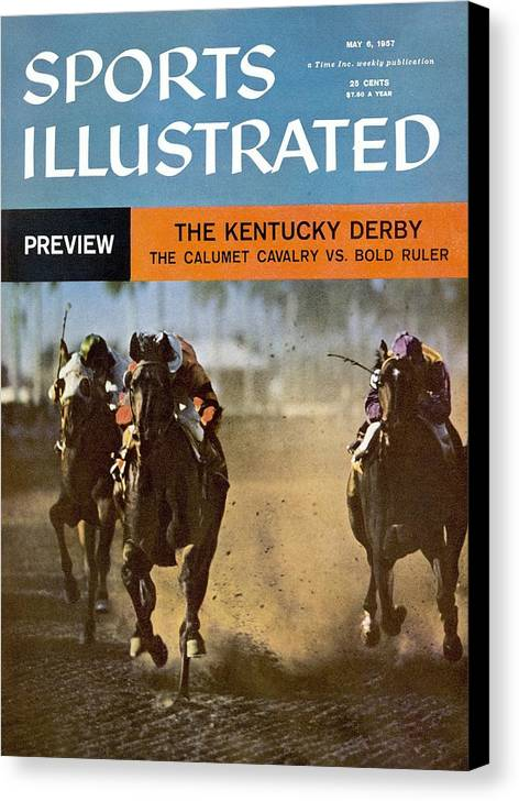 Horse Canvas Print featuring the photograph The Calumet Calvary, 1956 Florida Derby Sports Illustrated Cover by Sports Illustrated