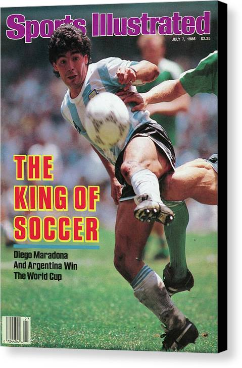 Magazine Cover Canvas Print featuring the photograph The King Of Soccer Diego Maradona And Argentina Win The Sports Illustrated Cover by Sports Illustrated