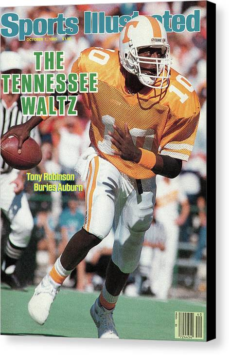 1980-1989 Canvas Print featuring the photograph The Tennessee Waltz Tony Robinson Buries Auburn Sports Illustrated Cover by Sports Illustrated