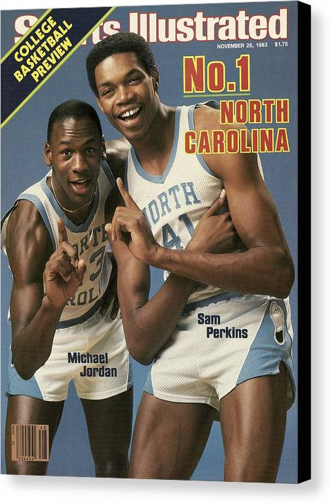 1980-1989 Canvas Print featuring the photograph Unc Michael Jordan And Sam Perkins Sports Illustrated Cover by Sports Illustrated