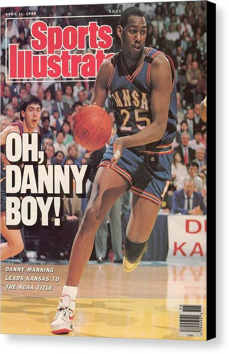 1980-1989 Canvas Print featuring the photograph University Of Kansas Danny Manning, 1988 Ncaa National Sports Illustrated Cover by Sports Illustrated