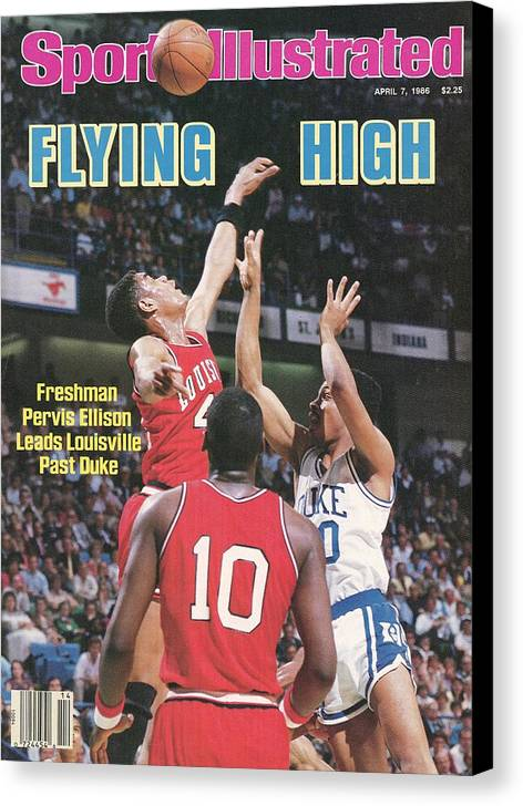 1980-1989 Canvas Print featuring the photograph University Of Louisville Pervis Ellison, 1986 Ncaa National Sports Illustrated Cover by Sports Illustrated
