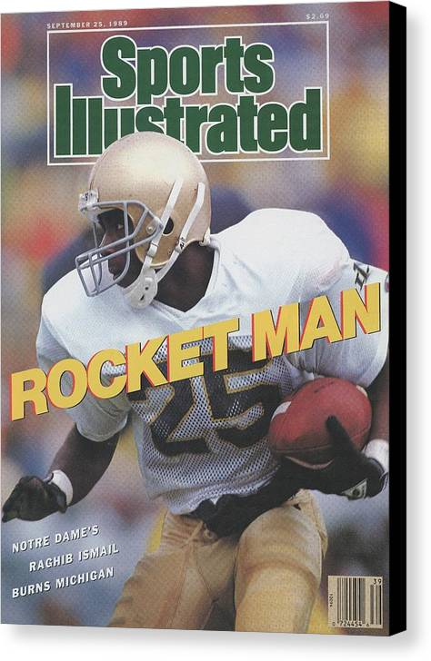 1980-1989 Canvas Print featuring the photograph University Of Notre Dame Rocket Ismail Sports Illustrated Cover by Sports Illustrated