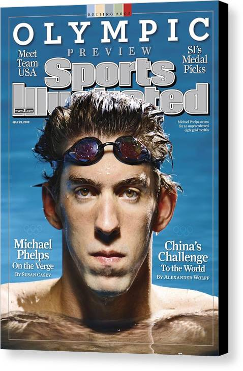 The Olympic Games Canvas Print featuring the photograph Usa Michael Phelps, 2008 Beijing Olympic Games Preview Sports Illustrated Cover by Sports Illustrated