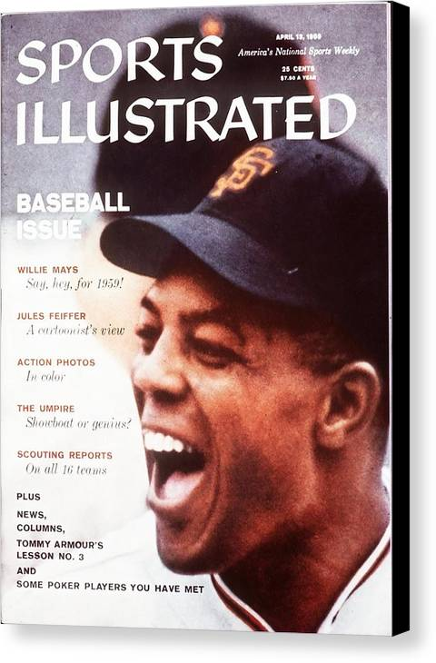 Magazine Cover Canvas Print featuring the photograph San Francisco Giants Willie Mays Sports Illustrated Cover by Sports Illustrated