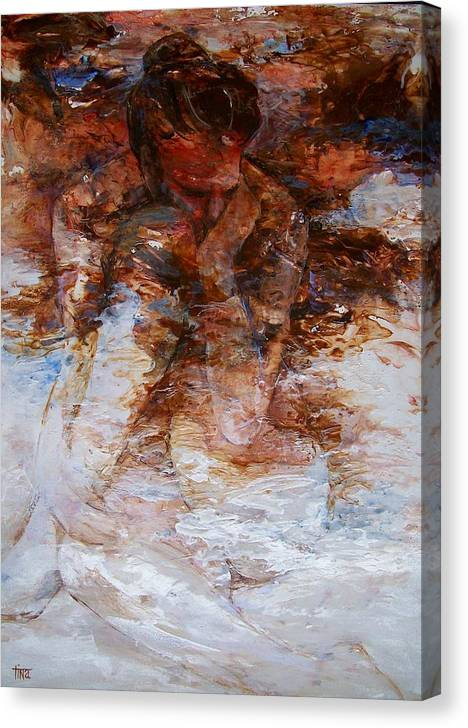 Figurative Canvas Print featuring the painting Wrapped in Thoughts by Tina Siddiqui