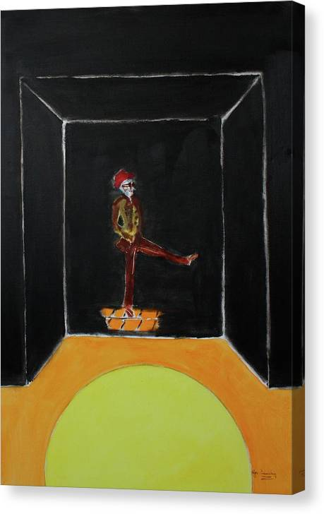 Dancing Canvas Print featuring the painting Dancing Man by Roger Cummiskey