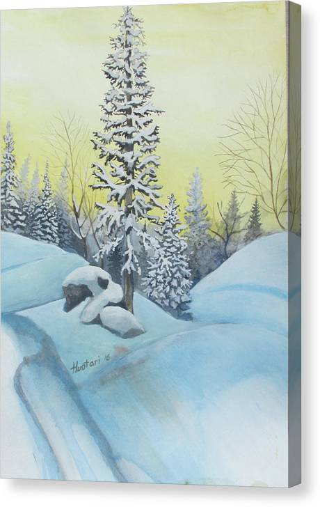 Winter Canvas Print featuring the painting February Morning by Rick Huotari