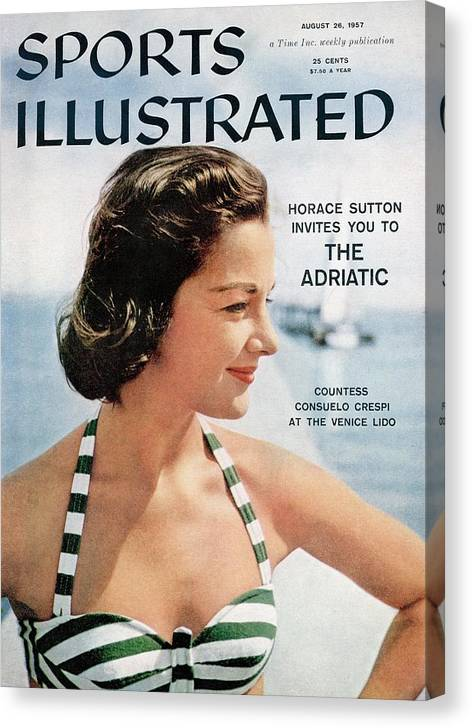Magazine Cover Canvas Print featuring the photograph Countess Consuelo Crespi, 1956 Swimsuit Sporting Look Sports Illustrated Cover by Sports Illustrated