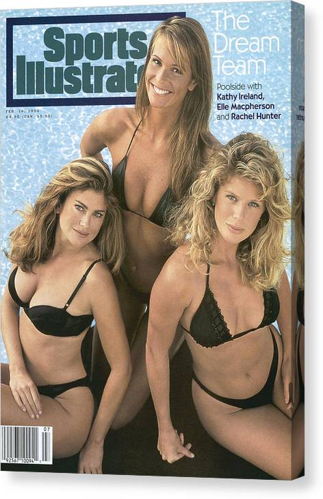 Social Issues Canvas Print featuring the photograph Kathy Ireland, Elle Macpherson, And Rachel Hunter Swimsuit Sports Illustrated Cover by Sports Illustrated