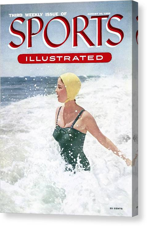Magazine Cover Canvas Print featuring the photograph Surf Bathing Closeups Sports Illustrated Cover by Sports Illustrated