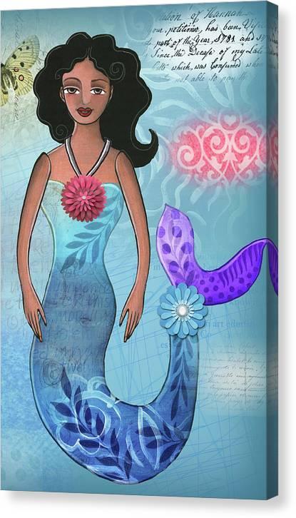 Mermaid Canvas Print featuring the mixed media Mermaid Dream 1 by Elaine Jackson