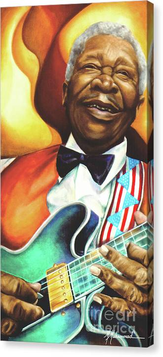 Musical Canvas Print featuring the painting B. B. King by Marcella Muhammad