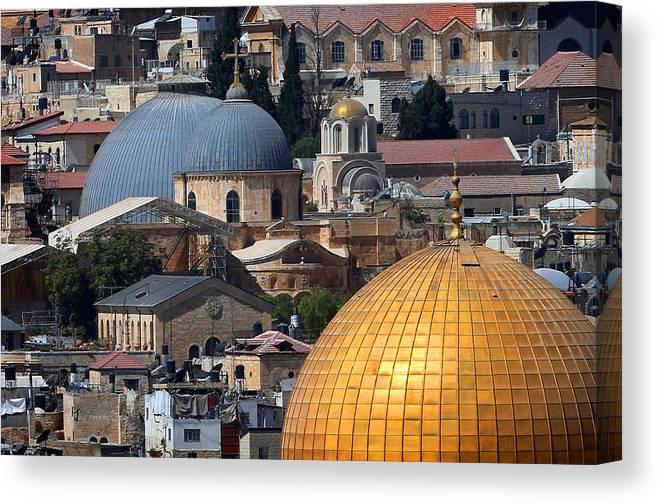 Old City Canvas Print featuring the photograph 019 Jerusalem by Alex Kolomoisky