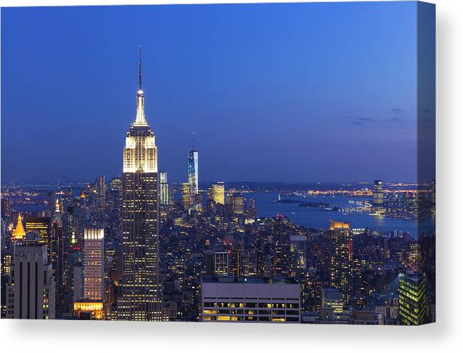 Tranquility Canvas Print featuring the photograph Aerial View Of Empire State And Midtown by Future Light
