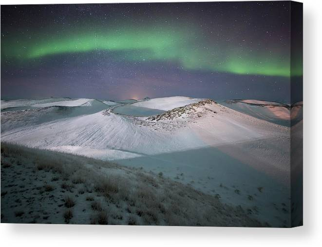 Scenics Canvas Print featuring the photograph Aurora, Myvatn, Iceland by David Clapp