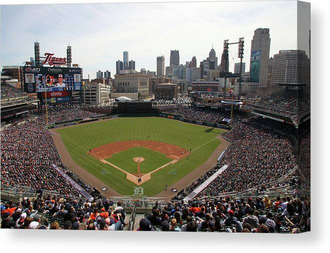 American League Baseball Canvas Print featuring the photograph Baltimore Orioles V. Detroit Tigers by John Grieshop