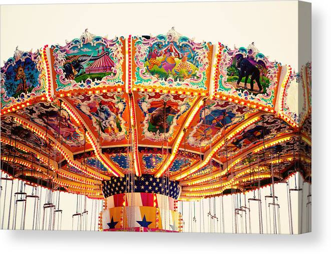 Carnival Canvas Print featuring the photograph Carnival Swings by Kim Fearheiley