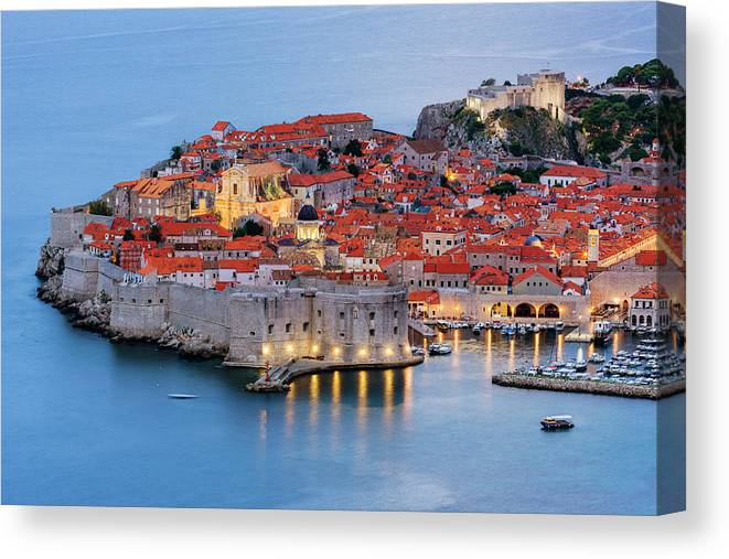Scenics Canvas Print featuring the photograph Dubrovnik City Skyline At Dawn by Pixelchrome Inc
