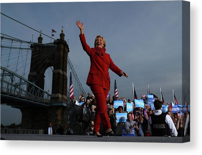 Nominee Canvas Print featuring the photograph Hillary Clinton Campaigns In Ohio Ahead by Justin Sullivan