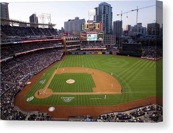 California Canvas Print featuring the photograph Los Angeles Dodgers V. San Diego Padres by Rob Leiter