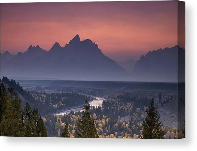 Mountain Canvas Print featuring the photograph Misty Teton Sunset by Andrew Soundarajan