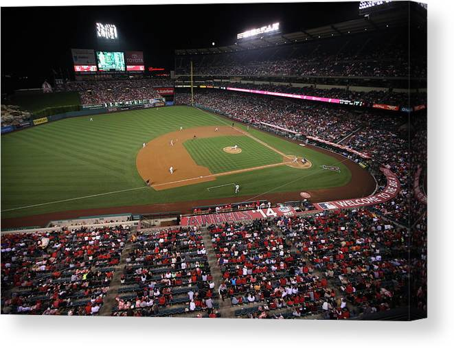 American League Baseball Canvas Print featuring the photograph Oakland Athletics V. Los Angeles Angels by Paul Spinelli