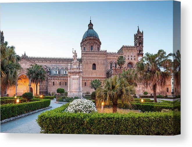 Saturated Color Canvas Print featuring the photograph Palermo Cathedral At Dusk, Sicily Italy by Romaoslo