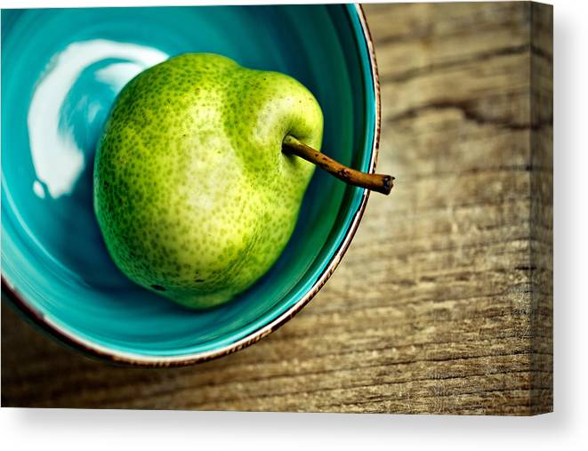 Pear; Pears; Fruit; Ripe; Juicy; Fruits; Group; Many; Row; Heap; Whole; Stoneware; Bowl; Blue Canvas Print featuring the photograph Pears by Nailia Schwarz