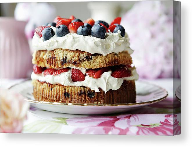 West Yorkshire Canvas Print featuring the photograph Plate Of Fruit And Cream Cake by Debby Lewis-harrison