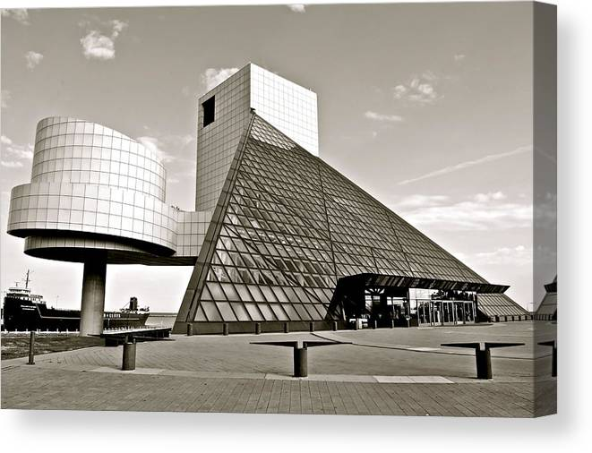 Cleveland Canvas Print featuring the photograph Rock Hall of Fame by Frozen in Time Fine Art Photography