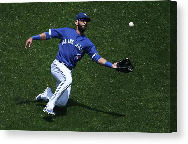 People Canvas Print featuring the photograph Tampa Bay Rays V Toronto Blue Jays by Tom Szczerbowski