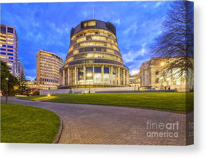 Wellington Canvas Print featuring the photograph The Beehive Wellington New Zealand by Colin and Linda McKie