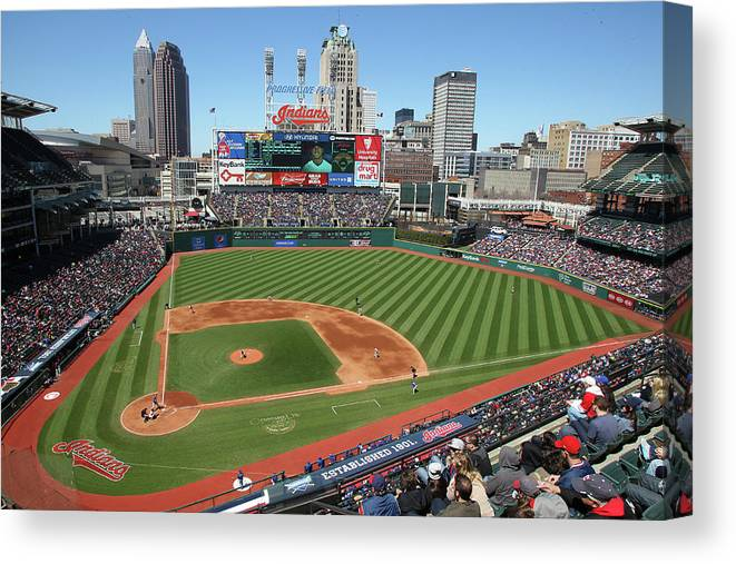 American League Baseball Canvas Print featuring the photograph Toronto Blue Jays V. Cleveland Indians by John Grieshop