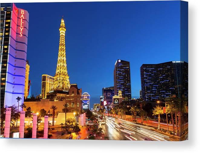 Las Vegas Replica Eiffel Tower Canvas Print featuring the photograph Usa, Nevada, Las Vegas, Paris Las Vegas by Sylvain Sonnet