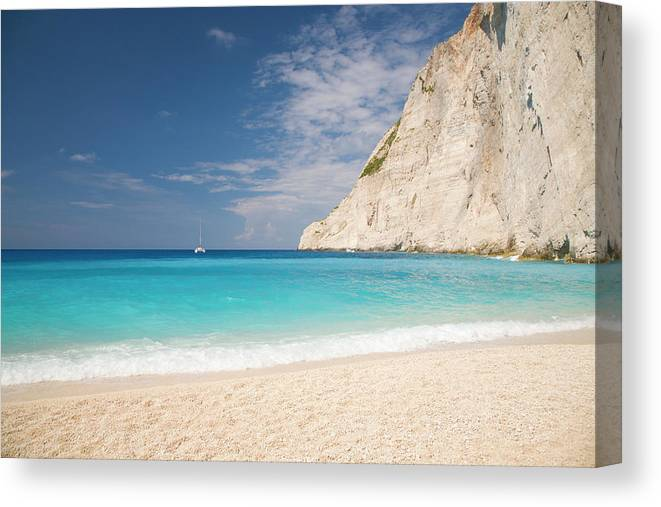 Water's Edge Canvas Print featuring the photograph View From Beach, Navagio Bay by David C Tomlinson