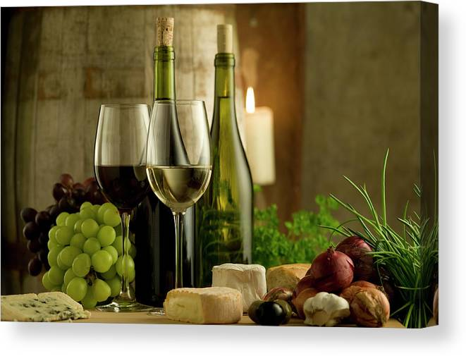 Cheese Canvas Print featuring the photograph White And Red Wine In A French Style by Kontrast-fotodesign