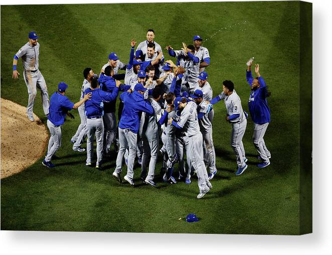 American League Baseball Canvas Print featuring the photograph World Series - Kansas City Royals V New by Tim Bradbury