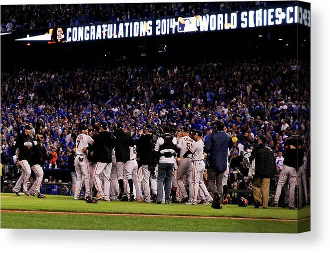 American League Baseball Canvas Print featuring the photograph World Series - San Francisco Giants V by Ezra Shaw