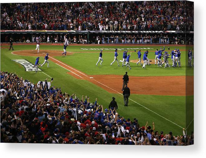 American League Baseball Canvas Print featuring the photograph World Series - Chicago Cubs V Cleveland by Ezra Shaw