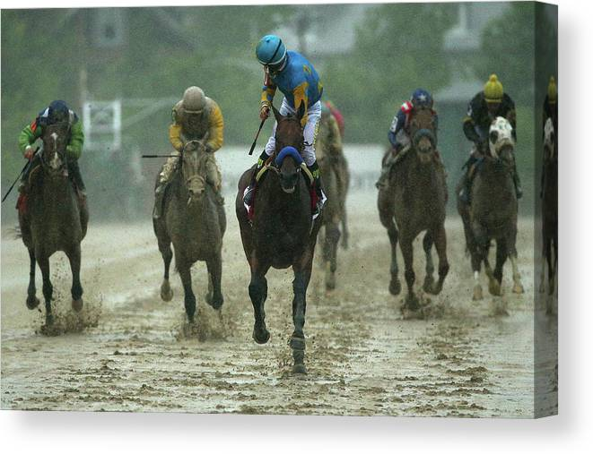 People Canvas Print featuring the photograph 140th Preakness Stakes by Patrick Smith